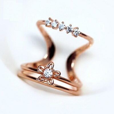 925純銀戒指鑲鑽開口戒~ 優雅多層花朵七夕情人節 女飾品2色73dt335~ ~~米蘭