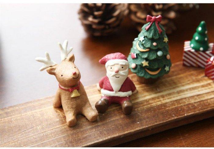 =優生活=【聖誕禮物】zakka日單聖誕夜仰望天空聖誕老人聖誕樹 麋鹿公仔擺設 交換禮物 拍攝擺件 三入一組