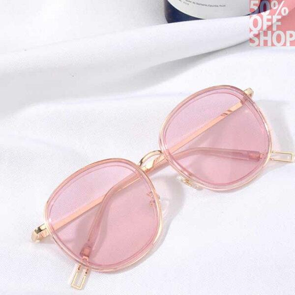 50%OFFSHOP方形韓版墨鏡透明框太陽眼鏡男女款【J036604GLS】