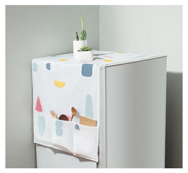 【aife life】PEVA冰箱防塵袋/收納口袋家具防塵防水遮罩/冰箱電視電扇櫃子洗衣機冷氣防塵布