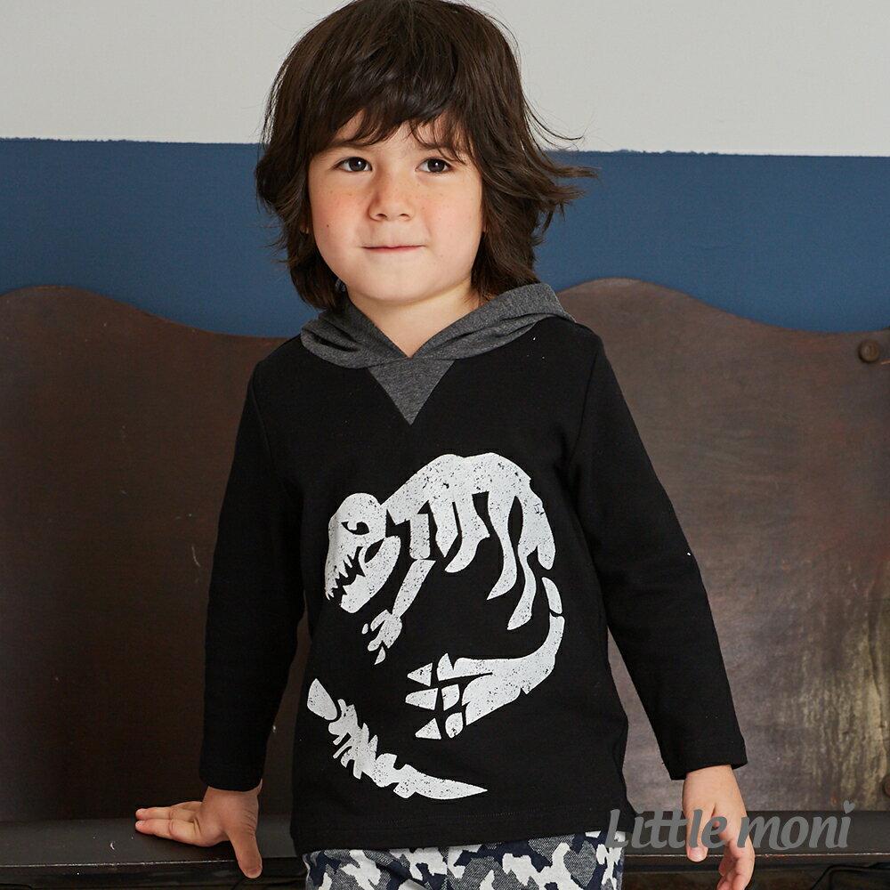 Little moni 恐龍化石連帽上衣-黑色 1