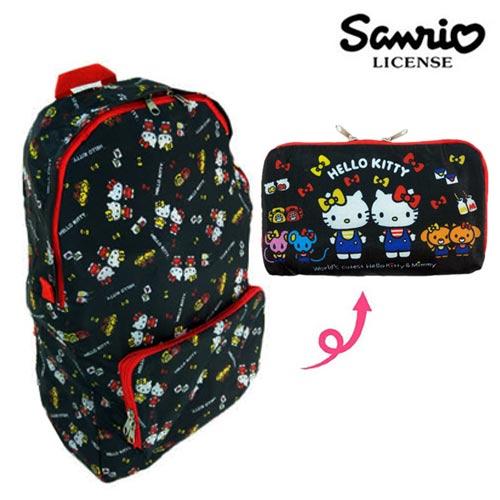 【日本正版】凱蒂貓 Hello Kitty ACTION 以愛之名 折疊 後背包 背包 防潑水 三麗鷗 Sanrio - 108932