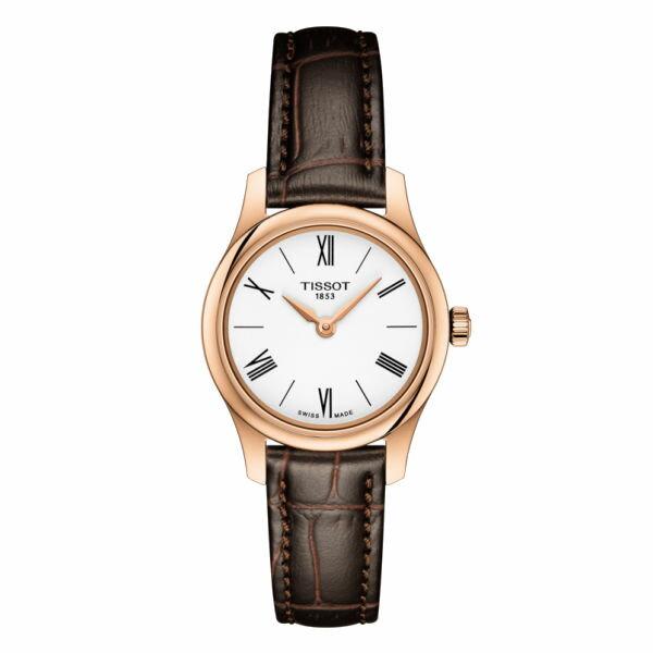 TISSOT 天梭 T0630093601800 TRADITION 古典懷舊風格機械錶 玫瑰金x白 25mm - 限時優惠好康折扣
