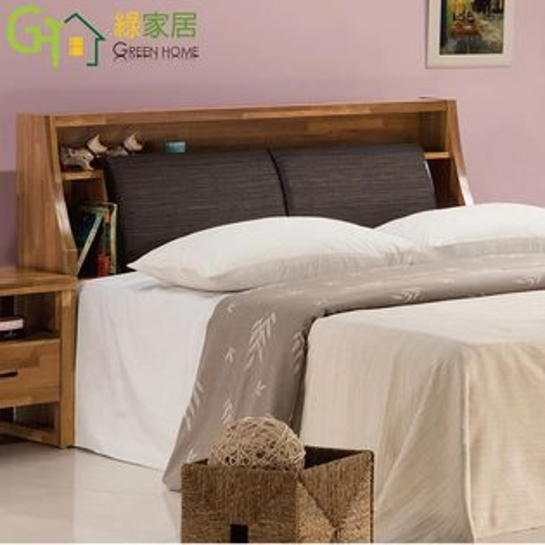 【綠家居】尼達時尚6尺木紋皮革雙人加大床頭箱