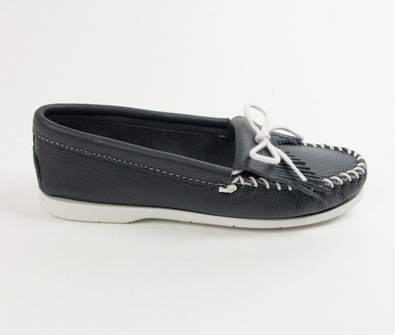 【Minnetonka 莫卡辛】藍色- 經典牛皮流蘇帆船鞋 2