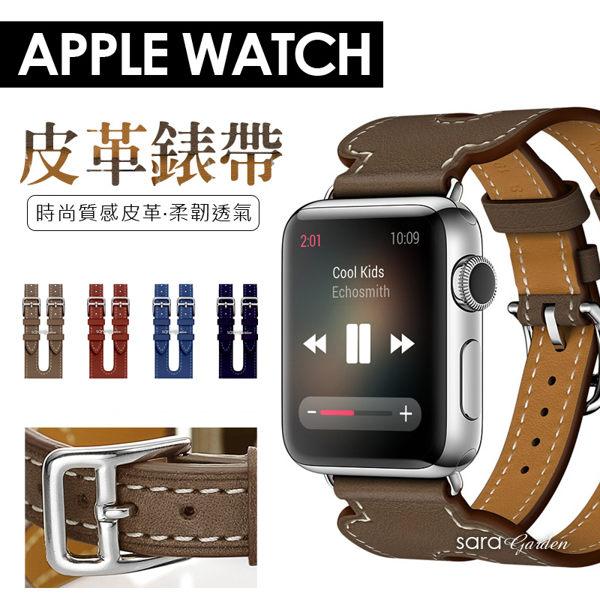 SaraGarden:時尚雙扣AppleWatch123錶帶38mm42mm手錶手環智慧替換皮革