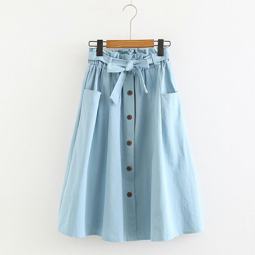 小清新大口袋高腰棉麻繫帶半身裙(4色F碼)【OREAD】 2