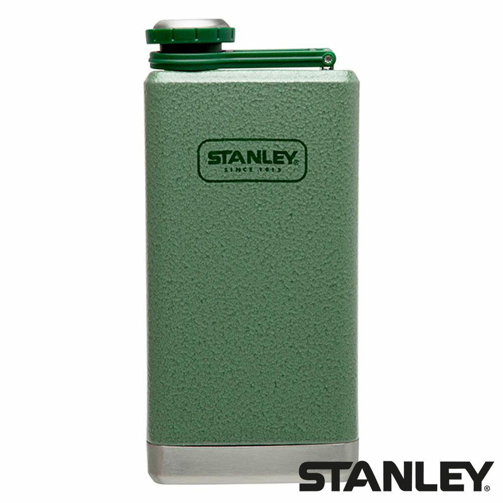 【美國 Stanley】SS Flask 經典酒壺 0.24L『錘紋綠』1001564 露營 戶外 酒杯 水壺 隨身攜帶 旅遊 野餐
