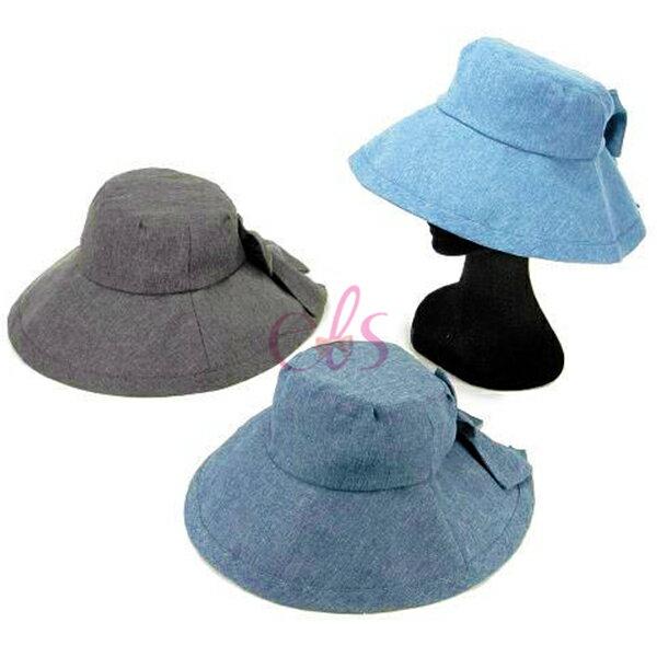 日本SHF丹寧風氣質蝴蝶結女優帽抗UV帽遮陽帽三色供選☆艾莉莎ELS☆