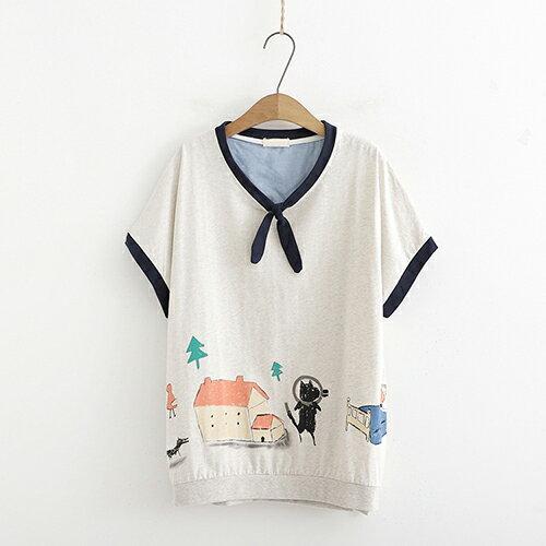 *ORead*日系森女貓咪印花寬鬆短袖T恤(2色F碼) 1