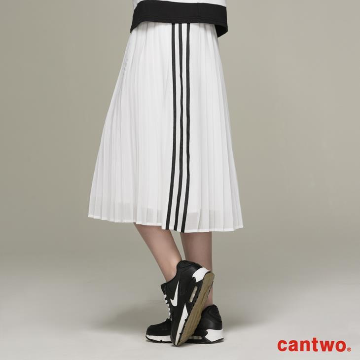 cantwo運動風側條百褶裙(共二色) 3