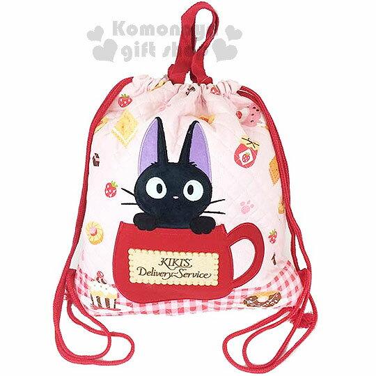 〔小禮堂〕魔女宅急便 束口後背包《粉.KIKI.茶杯.餅乾.草莓》可提.外表菱格縫線