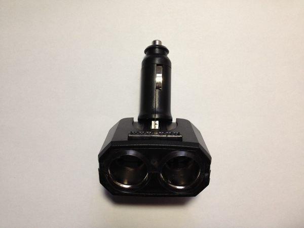 權世界@汽車用品 折疊式 2孔點煙器 電源插座擴充器 LED藍光 直插可調式 SR-311