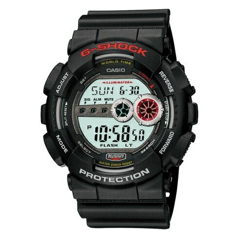 CASIO G-SHOCK GD-100-1A經典紅數位流行腕錶/黑面51mm