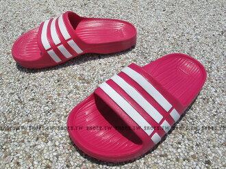 Shoestw【D67480】ADIDAS DURAMO SLIDE K 拖鞋 一體成型 桃紅白 中童