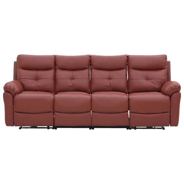 ◎(OUTLET)半皮4人用電動可躺式沙發 MEGA RED 福利品 NITORI宜得利家居 1