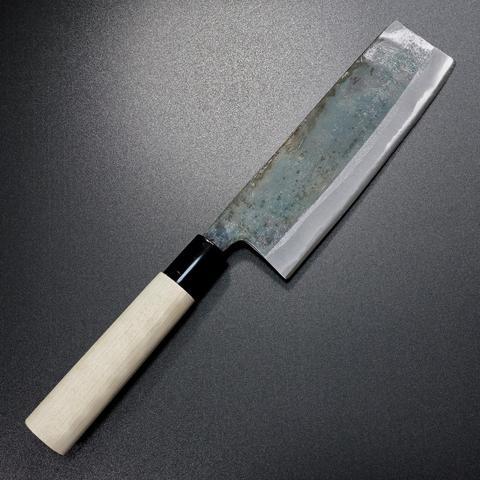 【日本進口菜刀】本久一 前田鍛冶工房 菜切刀  樸木柄 黑打白紙二號 160mm 會銹