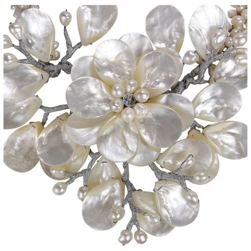 Colossal Floral Mother of Pearl .925 Silver Necklace 2