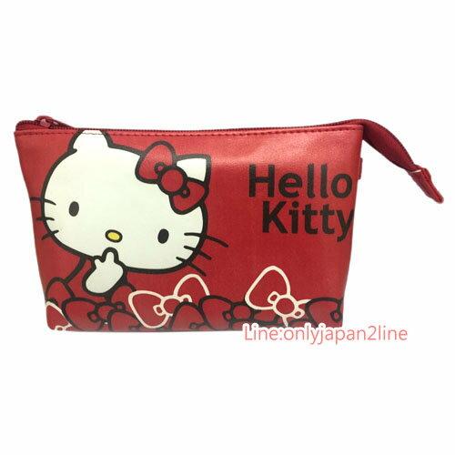 【真愛日本】17032100012 手機觸控斜背包-側坐蝴蝶結紅 三麗鷗 Hello Kitty 凱蒂貓 化妝包