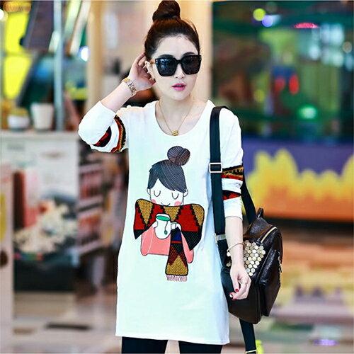 《任選2件55折》兩色,刺繡顯瘦長袖T恤 (2色,S~3XL) - ORead 自由風格 1