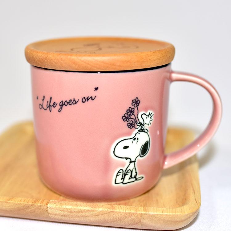 SNOOPY 史努比 含木杯蓋杯墊 陶瓷馬克杯 美濃燒 正版 日本製