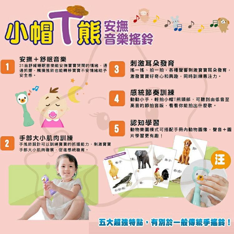 【大成婦嬰】小牛津 小帽T熊安撫音樂遊戲手搖鈴 全國首創 食品級安全矽膠 1