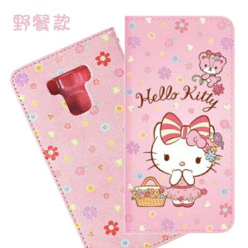 【Hello Kitty】ASUS ZenFone 3 Max (ZC553KL) 5.5吋 戀愛系列彩繪可站立皮套(野餐款)
