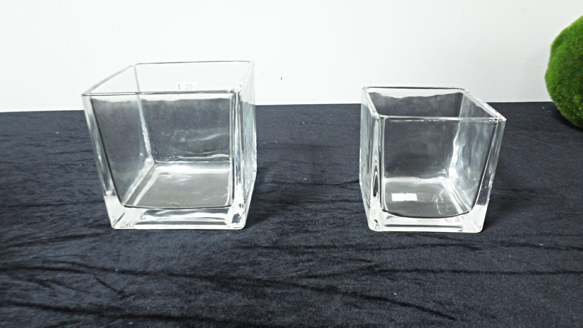 方型透明玻璃家居花器 (大/小)  ★棉花糖家飾精品★