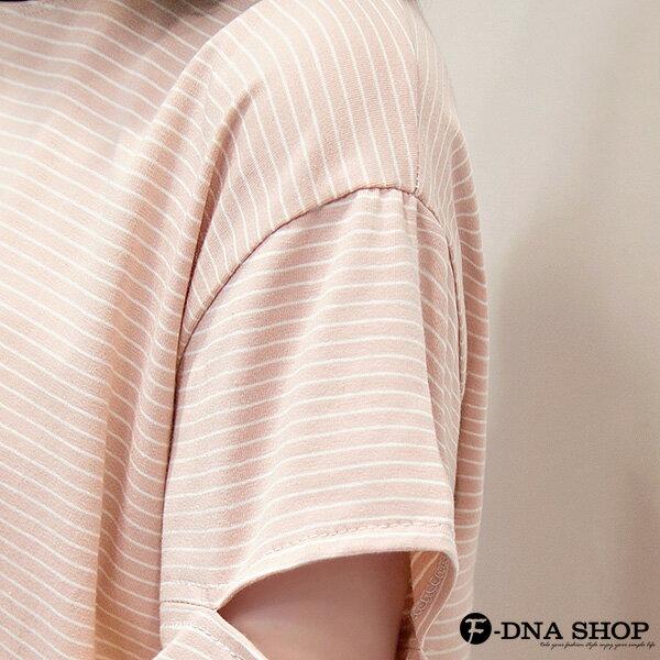 F-DNA★不對襯撞色滾邊縷空袖細條紋短袖上衣T恤(2色-M-2XL)【ETD2269】 5