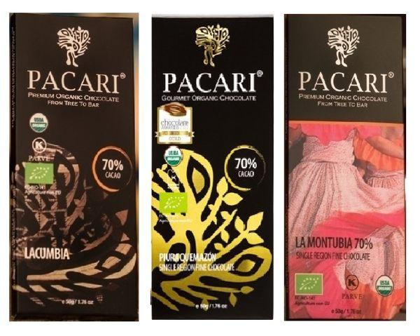 PACARI 巧克力70% 拉丁滾比亞/熱情皮烏拉/沿海蒙杜比亞黑巧克力 50g/片