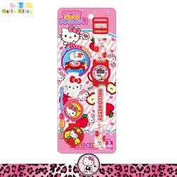 三麗鷗凱蒂貓Hello Kitty 電子錶 兒童手錶 造型錶 玩具錶 附3款錶蓋蘋果 日本進口正版 013252