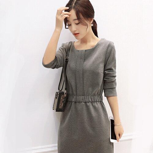短洋裝 - 一釦摺疊設計鬆緊腰長袖連衣裙【29167】藍色巴黎 - 現貨+預購 1