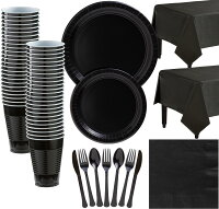 Black Paper Tableware Kit for 50 Guests, Party Supplies Set