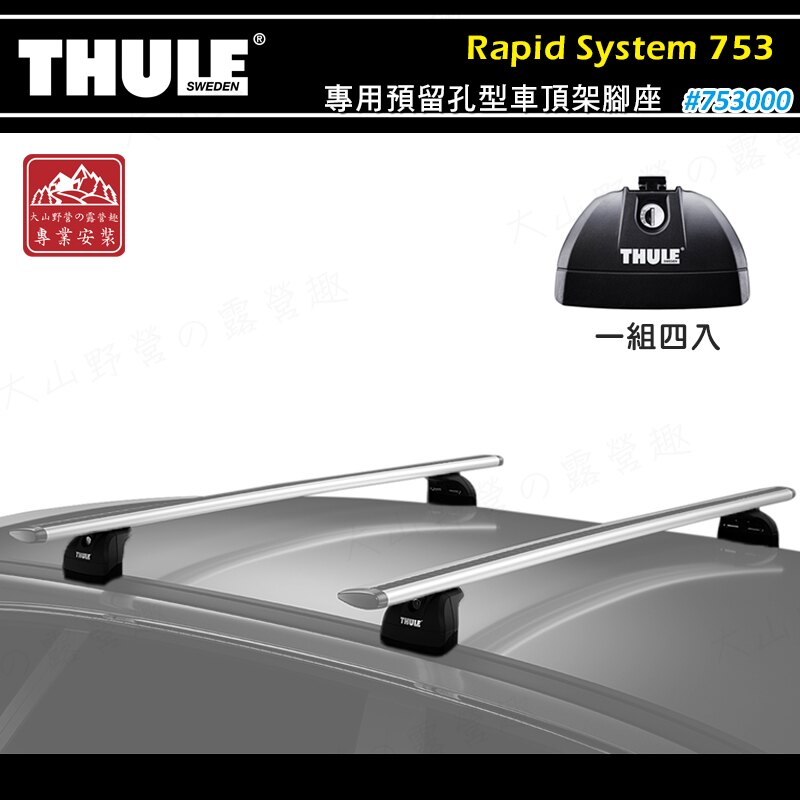 【露營趣】新店桃園 THULE 都樂 753 Rapid System 專用預留孔型車頂架腳座 基座 行李架 置物架 旅行架 荷重桿