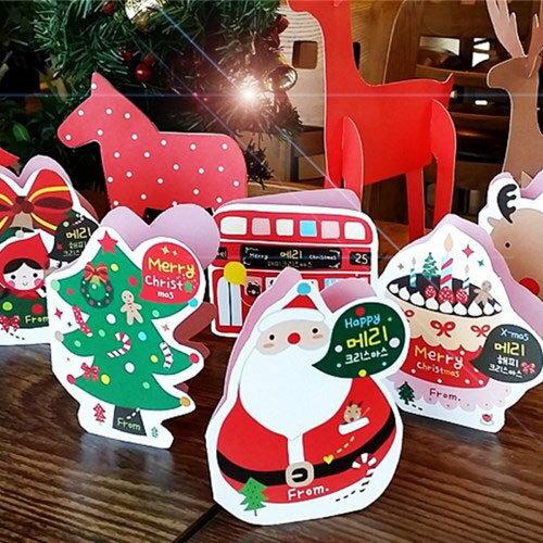 =優生活=(歡慶聖誕特價$89)聖誕節立體聖誕老人 麋鹿 聖誕樹 卡通聖誕元素賀卡 卡片 祝福卡 XMAS CARD 6張入