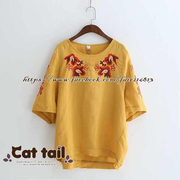 《貓尾巴》LZ-03151民族風精緻刺繡短袖上衣(森林系日系棉麻文青清新)