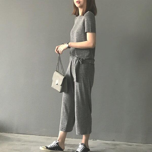 女裝短袖針織衫上衣闊腿褲兩件套休閒套裝樂天時尚館。預購。[全店免運]