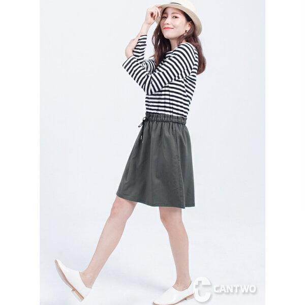 CANTWO:CANTWO條紋抽繩假兩件洋裝(共二色)