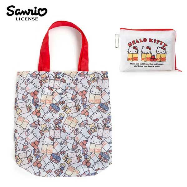 白色款【日本正版】凱蒂貓摺疊購物袋環保袋手提袋防潑水HelloKitty三麗鷗Sanrio-984963