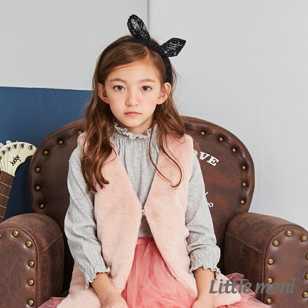 Little moni 毛毛造型背心-粉紅 1