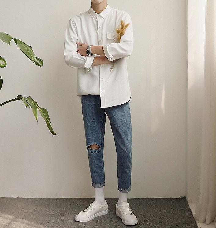 大尺碼 白襯衫 襯衫 男 加肥 大男服飾 小尺碼 寬鬆 白 襯衫
