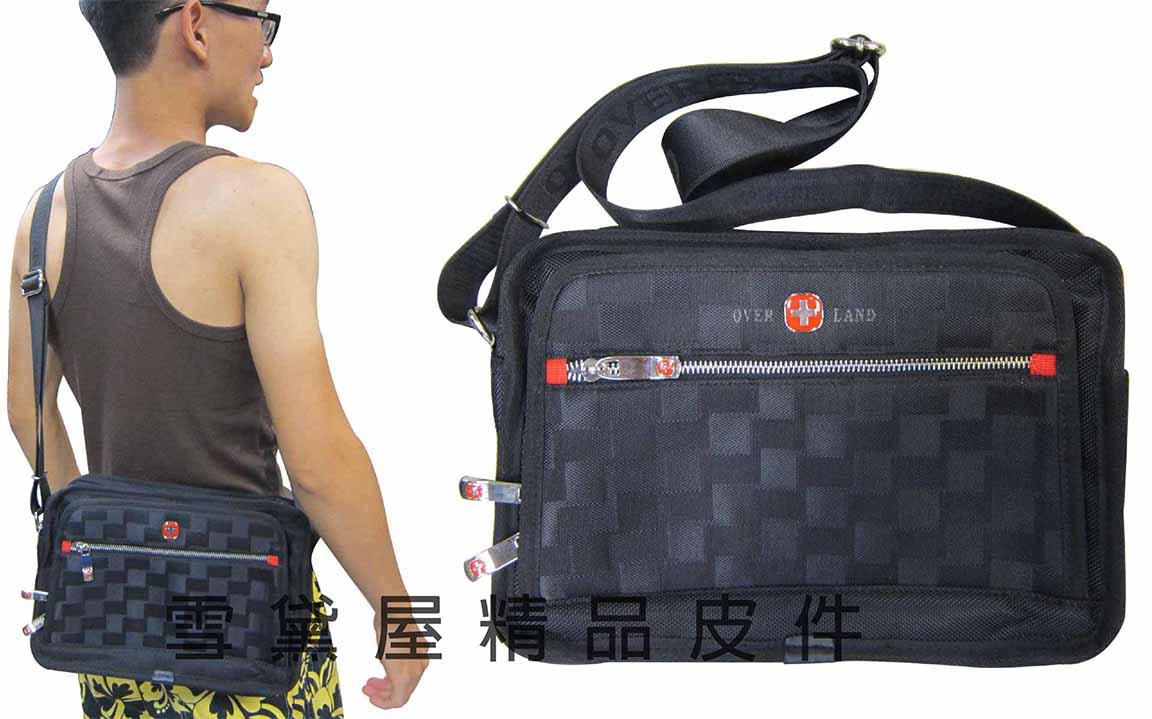 ^~雪黛屋^~OVER~LAND 肩側包三層拉鍊式主袋口 隨身物品肩背可斜側背防水尼龍布
