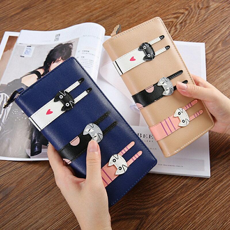 女士長款錢夾皮夾 女士錢包 韓版卡通可愛3只貓咪拉鏈零錢包 中長款女式錢包 女生長夾 全館八八折