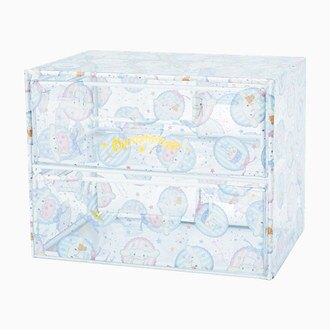 【真愛日本】17060700004 透明2層抽屜置物櫃-CN徽章緞帶+AAO 三麗鷗家族 喜拿狗 大耳狗 收納盒 盒子 預購