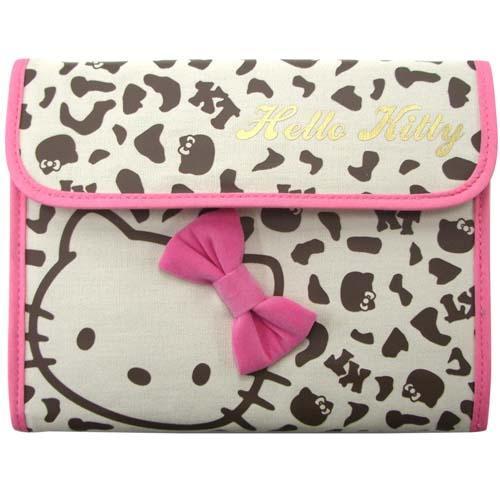 日本進口 Hello Kitty 豹紋款 母子手帳 存摺/護照收納/多功能收納包 可放媽媽手冊 *夏日微風*