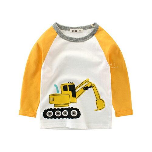 黃色挖土機棉感長袖棒球T 童裝 棉T 長袖T恤