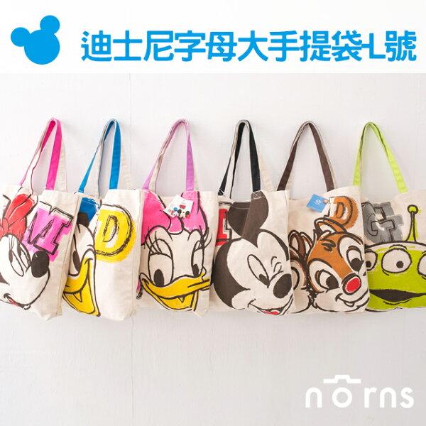 NORNS【日貨迪士尼字母大手提袋-L號】disney正版米老鼠米奇米妮奇奇蒂蒂手提袋