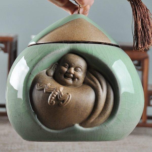 開心羅漢陶瓷茶葉罐 陶瓷密封蓋罐 陶罐儲物罐 龍泉哥窯開片