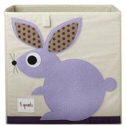 【淘氣寶寶】加拿大 3 Sprouts 收納箱-兔子【超大容量造型收納箱,可摺疊,100%棉帆布手感柔軟耐抗污】【保證公司貨●品質保證】