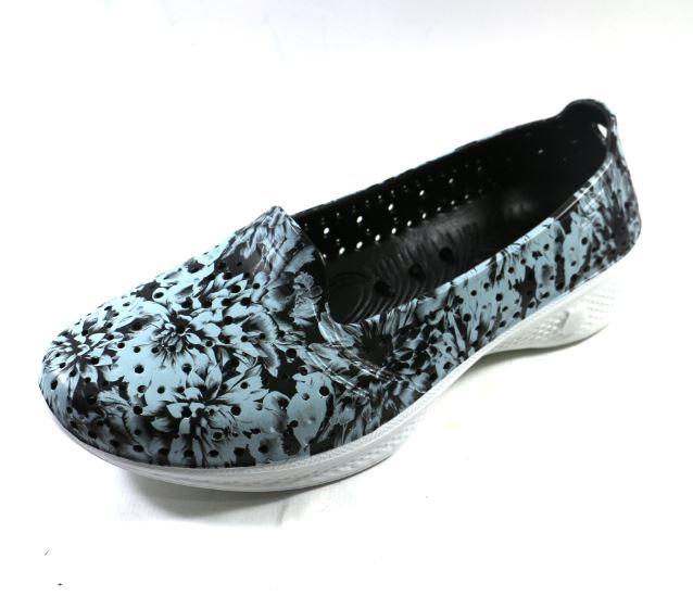 [陽光樂活] SKECHERS (女) 健走系列 H2GO 透氣洞洞鞋 - 14691BKW 灰色花卉印花